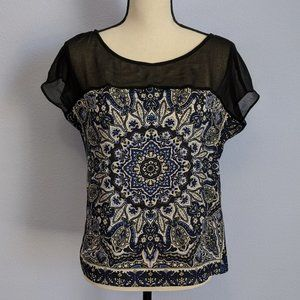 Zara Basic Printed Short Sleeve Blouse Size XS